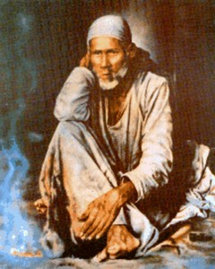young Shirdi Sai Baba in front of Dhuni (colour)