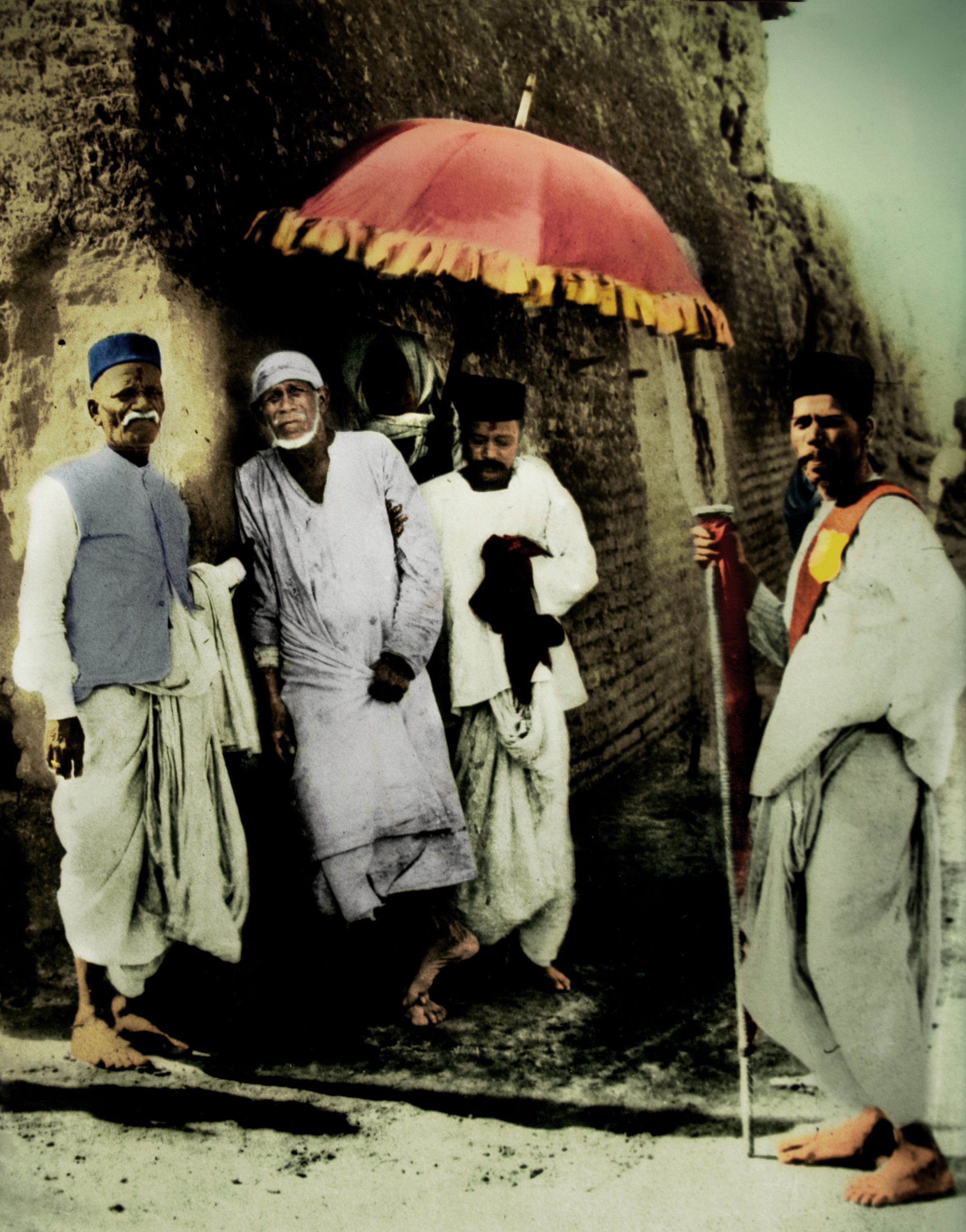 Shirdi Sai Baba umbrella coloured